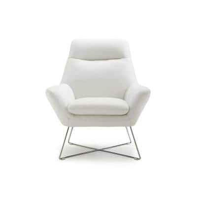 Daniellechair White Top Grain Italian Leather Stainless Steel Legs