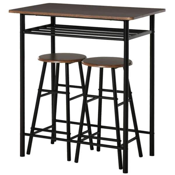 Homcom 3 Piece Black Counter Height, Bar Height Table With Storage