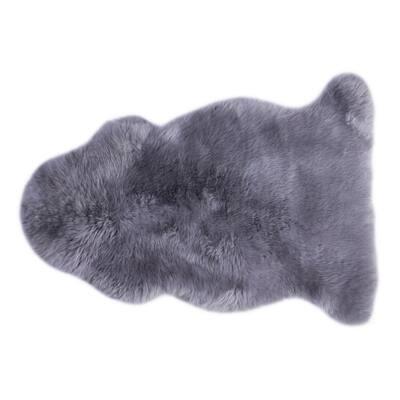 Genuine Australian Lamb Fur Sheepskin Grey 2 ft. x 3 ft. Natural Single Pelt Area Rug