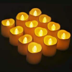 1.6 in. flameless Votive Candles - Bright Flickering Tea Lights LED Candles ( 12-Pack)