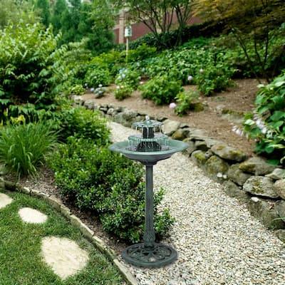 35 in. Tall Outdoor 3-Tiered Pedestal Water Fountain and Birdbath, Green