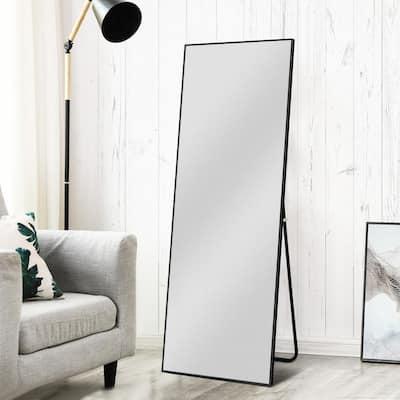 Oversized Black Composite Modern Mirror (64.17 in. H X 21.26 in. W)