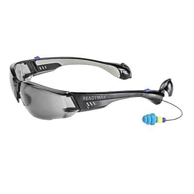 Construction Safety Glasses Black Frame Grey Lens with NRR 25 db Silicone PermaPlugs