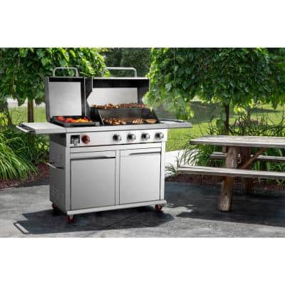4-Burner Propane Gas Grill in Stainless Steel with Griddle