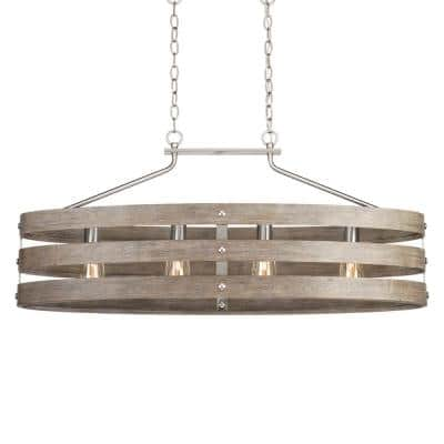 Gulliver 38.5 in. 4-Light Brushed Nickel Island Chandelier with Weathered Gray Wood Accents