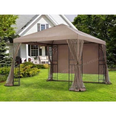 10 ft. x 10 ft. Symphony II Single-Tier Steel Gazebo with 108 in. H Mosquito Net, Privacy Screen and Planter Holders