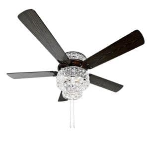 Bohemian Pierced Metal 52 in. Clear Crystal LED Ceiling Fan With Light