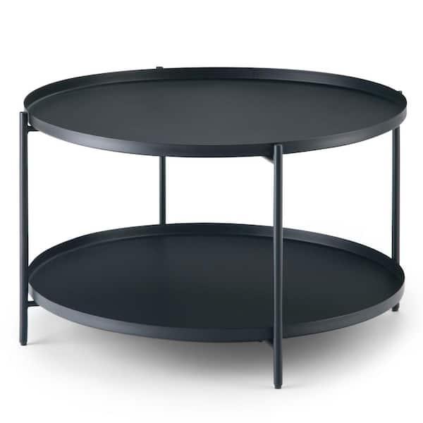 Black Medium Round Metal Coffee Table, Black Coffee Table Tray Round