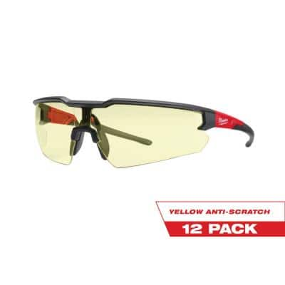 Safety Glasses with Yellow Anti-Scratch Lenses (12-Pack)