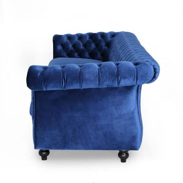 Noble House Sommerville 34 5 In Navy Blue Dark Brown Velvet 3 Seater Chesterfield Sofa With Flared Arms 65582 The Home Depot