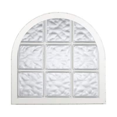 42 in. x 50 in. Acrylic Block Round Top Vinyl Window in White