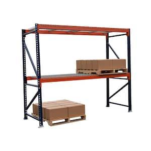 Blue and Orange 2-Tier Steel Pallet Rack (108 in. W x 96 in. H x 42 in. D)