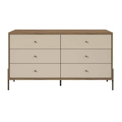 Joy 59 in. Wide Off-White 6-Drawer Double Dresser