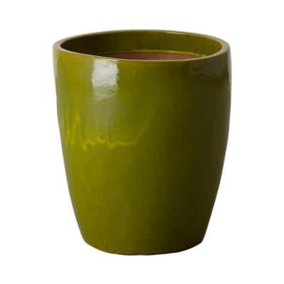 Bullet 15.5 in. H Green Ceramic Round Planter