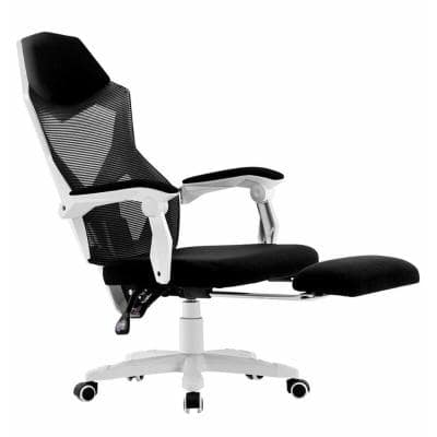 White Mesh High Back Adjustable Recliner Ergonomic Executive Office Chair with Footrest and Lumbar Support