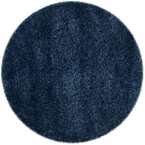 California Shag Navy 4 ft. x 4 ft. Round Area Rug