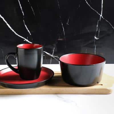 16-Piece Casual Red and Black Stoneware Dinnerware Set (Set for 4)