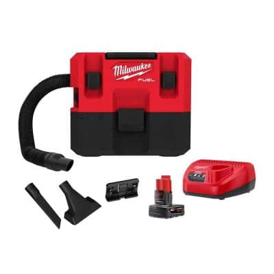 M12 FUEL 12-Volt 1.6 Gal. Lithium-Ion Cordless Wet/Dry Vacuum Kit with 6.0 Ah Battery and Charger