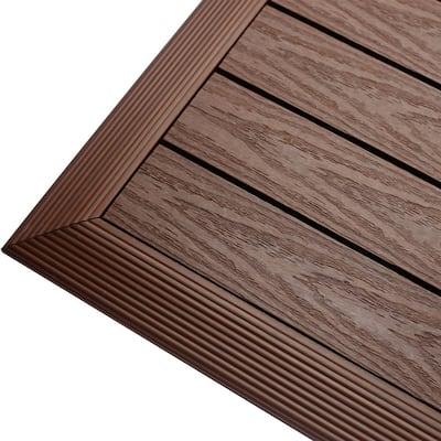 1/6 ft. x 1 ft. Quick Deck Composite Deck Tile Outside Corner Fascia in California Redwood (2-Pieces/Box)
