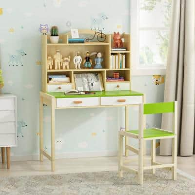Green Wooden Kids Learning Desk and Chair Set Adjustable Height Study Table with 3-Tier Storage Bookshelf and 4-Drawers