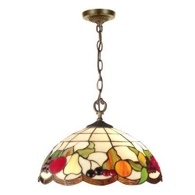 Fruit 2-Light Antique Brass Hanging Pendant