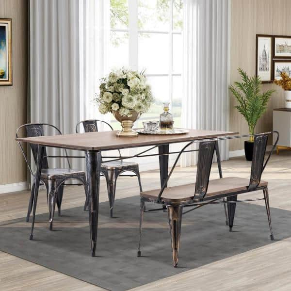 Boyel Living Rustic With Wooden Seat Panel And Metal Backrest And Legs Vintage Distressed Dining Table Bench Tr Pp036325daa The Home Depot