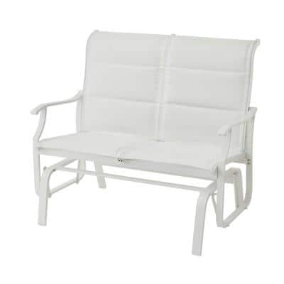 Riverbrook Shell White 2-Person Aluminum Outdoor Patio Padded Sling Glider