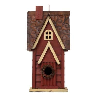 12 in. H Wood Red Cottaage Solid Distressed Birdhouse