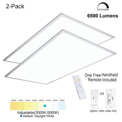 2 ft.x4 ft. 6500 Lumen600W EquivalentWhiteDimmable Color Changing CCT Integrated LED Flat Panel Light Troffer(2-Pack)