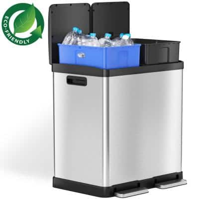 SoftStep 16 Gal. Stainless Steel Step Trash Can and Recycle Bin Combo Unit with Removable Inner Bins for Kitchen, Office