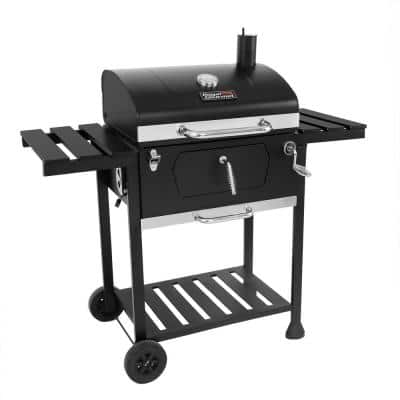 24 in. Charcoal BBQ Grill in Black with 2-Side Table