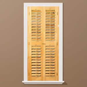 Light Teak 2-1/4 in. Plantation Real Wood Interior Shutter 23 to 25 in. W x 54 in. L
