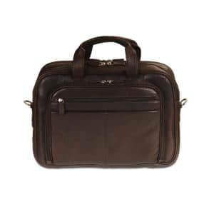 Colombian Collection Brown Leather Zippered Double Compartment Briefcase for 15.6 in. Laptop/Tablet