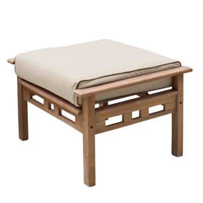 Belize Teak Outdoor Ottoman with Taupe Cushion