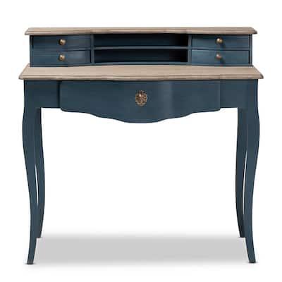 39.5 in. Blue/Oak Rectangular 5 -Drawer Writing Desk with Gold Hardware