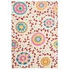 Whimsical Cream / Red 5 ft. x 7 ft. Indoor Area Rug