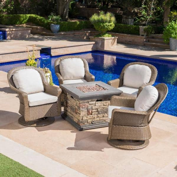 Noble House 5 Piece Wicker Patio Fire Pit Conversation Set With Ceramic Gray Cushions 21271 The Home Depot