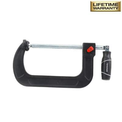 6 in. Quick Adjustable C-Clamp with Rubber Handle