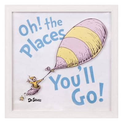 12 in. x 12 in. Dr. Seuss Oh The Places You'll Go Framed Glass Wall Art