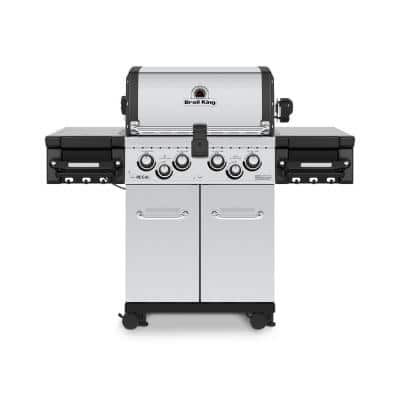 Regal S490 PRO 4-Burner Natural Gas Grill in Stainless Steel with Side Burner and Rear Rotisserie Burner
