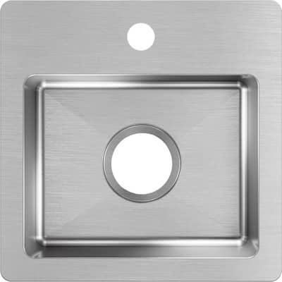 Crosstown Stainless Steel 15 in. Single Bowl Dual Mount Kitchen Sink