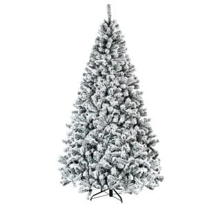 7.5 ft. Unlit Snow Flocked Hinged Artificial Christmas Tree with 1010 Tips