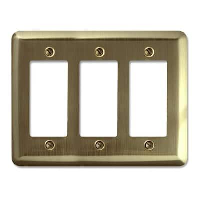 Brass 3-Gang Decorator/Rocker Wall Plate (1-Pack)