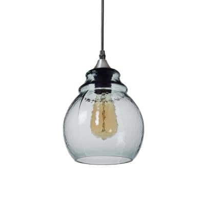 10 in. H 1-Light Silver Hammered Glass Pendant with Blue Glass Shade
