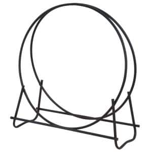 Black Wrought Iron 40 in. H Hoop Style Firewood Rack with Heavy Duty Steel Construction