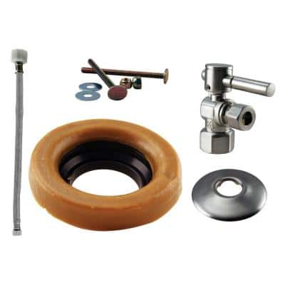 1/2 in. IPS Lever Handle Angle Stop Toilet Installation Kit with Steel Supply Line in Satin Nickel