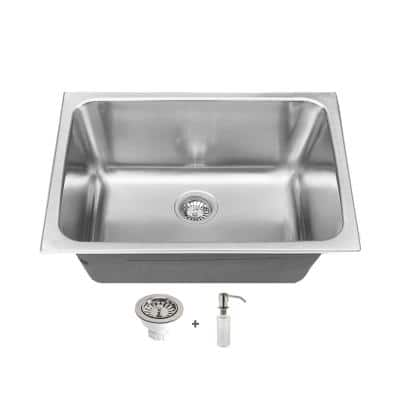 24 in. x 18 in. Stainless Steel Self-Rimming or Undermount Laundry/Utility Sink