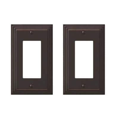 Tiered 1 Gang Rocker Metal Wall Plate - Aged Bronze (2-Pack)