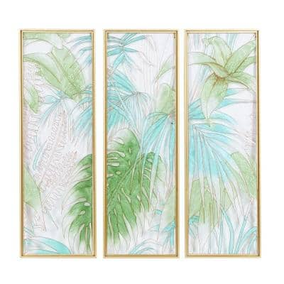 36 in. x 12 in. Green Glass Contemporary Wall Decor (Set of 3)