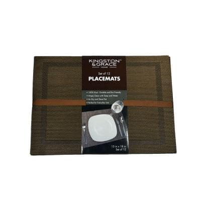 Kingston and Grace 13 in. x 18 in. Frame Placemat in Brown (Set of 12)